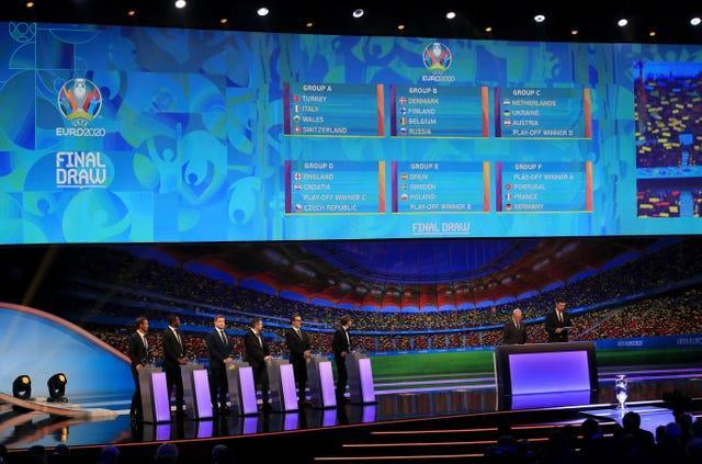 The screen displays the final groups during the Euro 2020 draw