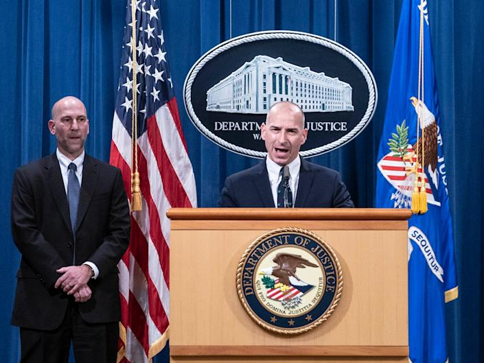 Steven D'Antuono, head of the FBI Washington field office, left, and Michael Sherwin, acting US attorney for the District of Columbia, held a news conference about the Capitol riots (POOL/AFP via Getty Images)