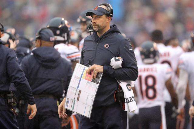 Matt Nagy tried to give as much time as possible for Mitchell Trubisky to heal from an injured throwing shoulder. (Getty Images)
