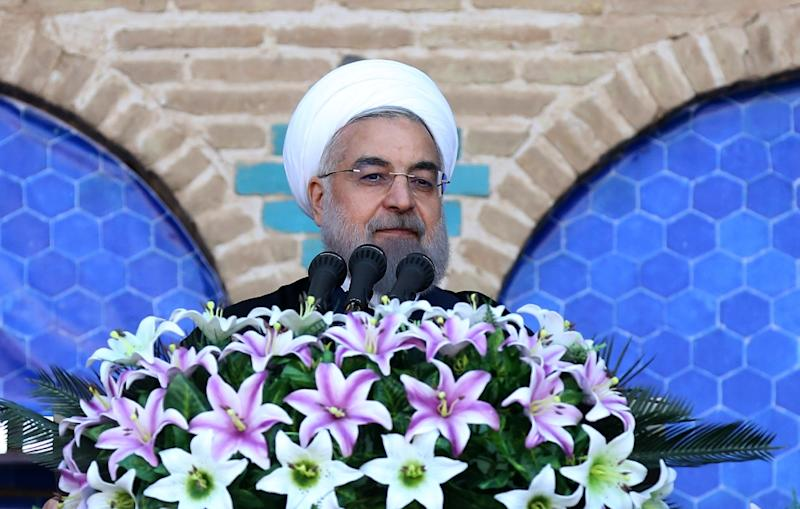 Iranian President Hassan Rouhani delivers a speech during a visit to the central city of Yazd on March 7, 2016, praising reformist ex-president Mohammad Khatami (AFP Photo/)