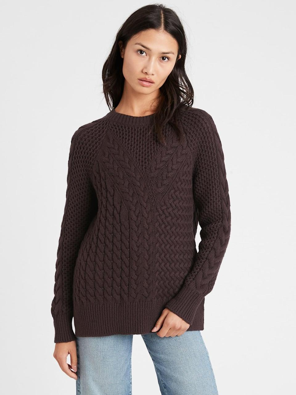 <p>Go for a brown monochrome look with this textured <span>Cable-Knit Sweater Tunic</span> ($77, originally $110).</p>