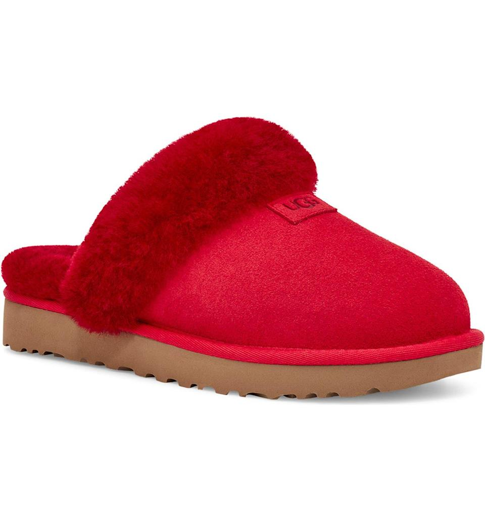 """<h2>UGG Genuine Shearling Slipper</h2><br><strong>SOLD OUT (FOR NOW)</strong><br>Polarizing as they may be, UGG's fuzzy duds have proven themselves to be R29-editor, reader, AND Nordstrom-customer favorites — so much so that this here pair of Genuine Shearling Slippers has already sold out in more than a few colorways throughout the sale. There are only a select few sizes left in the red colorway so act fast!<br><br><em>Shop more <a href=""""https://go.skimresources.com?id=30283X879131&xs=1&url=https%3A%2F%2Fwww.nordstrom.com%2Fbrowse%2Fanniversary-sale%2Fall%3Fcampaign%3D0728publicgnpt1%26jid%3Dj012165-15573%26cid%3D00000%26cm_sp%3Dmerch-_-anniversary_15573_j012165-_-catpromo_corp_persnav_shop%26%3D%26postalCodeAvailability%3D10543%26filterByProductType%3Dshoes_slippers&sref=https%3A%2F%2Fwww.refinery29.com%2Fen-us%2Fnordstrom-anniversary-sale-best-sellers"""" rel=""""nofollow noopener"""" target=""""_blank"""" data-ylk=""""slk:Nordstrom Anniversary Sale slippers"""" class=""""link rapid-noclick-resp"""">Nordstrom Anniversary Sale slippers</a></em><br><br><strong>Ugg</strong> Genuine Shearling Slipper, $, available at <a href=""""https://go.skimresources.com/?id=30283X879131&url=https%3A%2F%2Fwww.nordstrom.com%2Fs%2Fugg-genuine-shearling-slipper-women%2F5868136"""" rel=""""nofollow noopener"""" target=""""_blank"""" data-ylk=""""slk:Nordstrom"""" class=""""link rapid-noclick-resp"""">Nordstrom</a>"""