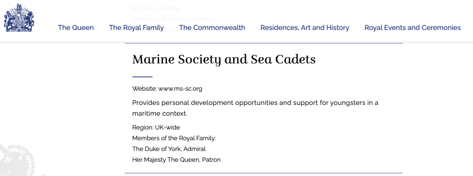 Marine Society and Sea Cadets has taken any reference to the Duke of York off its website, but the charity remains listed on the Royal website. (Royal.uk)