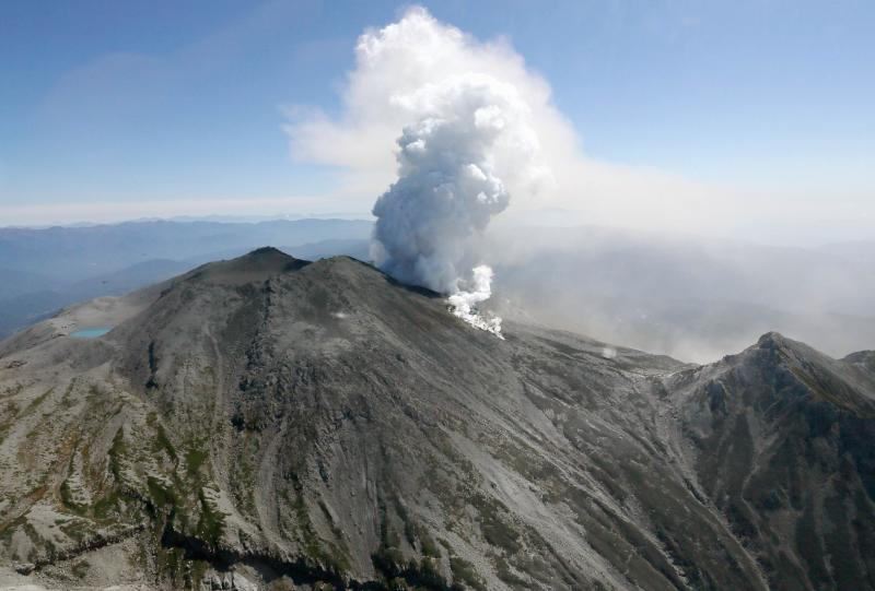 Volcanic smoke rises from Mt. Ontake, which straddles Nagano and Gifu prefectures