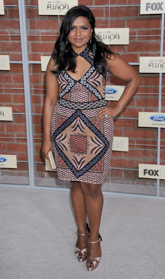 "Mindy Kaling (""The Mindy Project"") attends Fox's Fall 2012 Eco-Casino party at The Bookbindery on September 10, 2012 in Culver City, California."