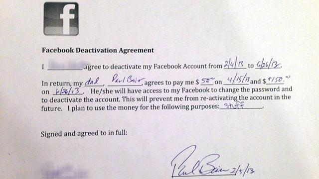 Daughter Given $200 to Quit Facebook