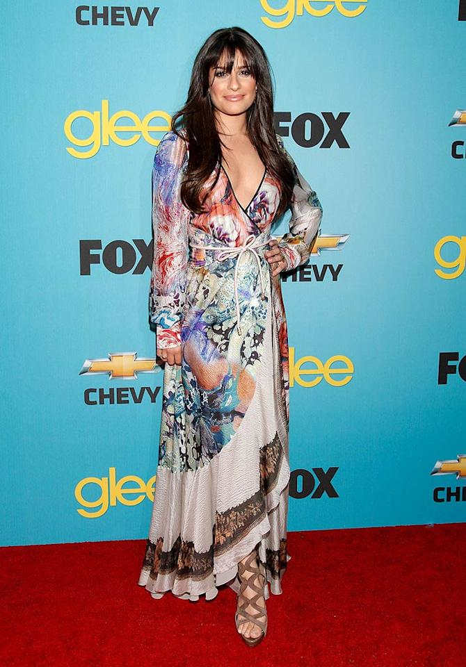 "Also popping a pose this week was ""Glee"" goddess Lea Michele, who sported this $2,700 Etro marble-print maxi dress to her hit show's spring fling at the Chateau Marmont on Sunset Boulevard. Todd Williamson/<a href=""http://www.wireimage.com"" target=""new"">WireImage.com</a> - April 12, 2010"