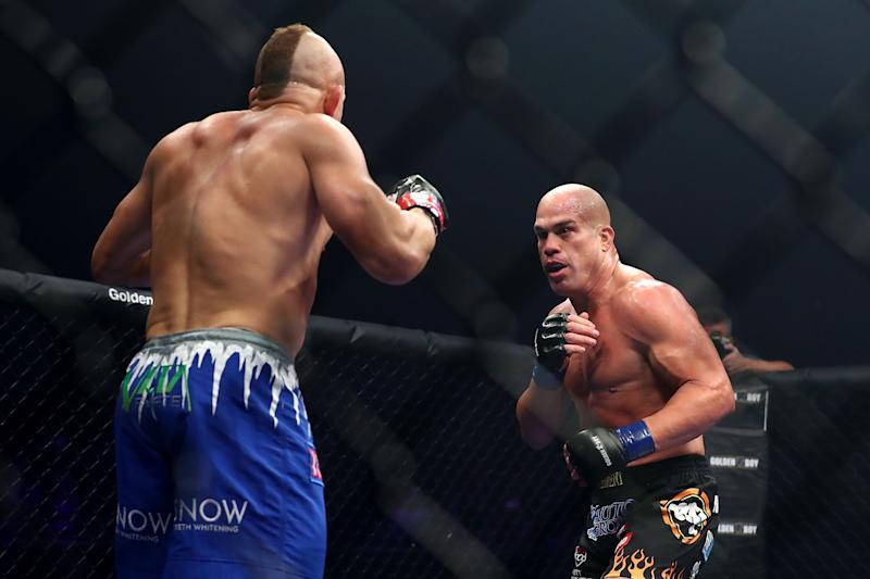 INGLEWOOD, CA - NOVEMBER 24: Tito Ortiz and Chuck Liddell spar off in the octagon in the first round during the Light Heavyweight bout at The Forum on November 24, 2018 in Inglewood, California. (Photo by Joe Scarnici/Getty Images)