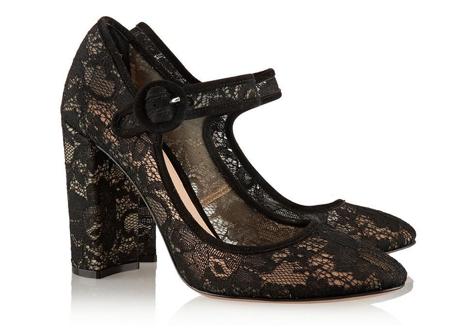 """<p>Gianvito Rossi Suede-Trimmed Chantilly Lace Mary Jane Pumps, $925, <a rel=""""nofollow noopener"""" href=""""http://www.net-a-porter.com/product/614377/Gianvito_Rossi/suede-trimmed-chantilly-lace-mary-jane-pumps"""" target=""""_blank"""" data-ylk=""""slk:net-a-porter.com"""" class=""""link rapid-noclick-resp"""">net-a-porter.com</a></p>"""