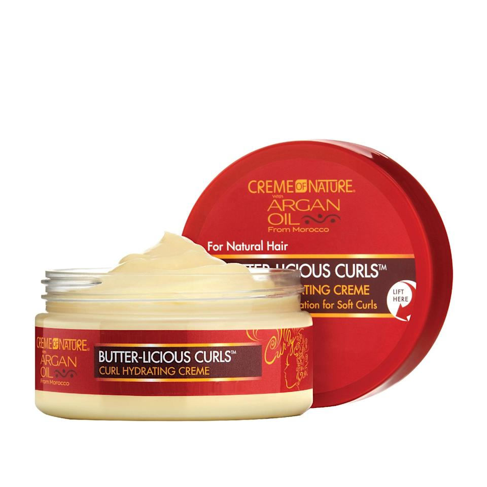 """<p>Want pillowy soft curls? Well, rest easy because you've found the moisturizer of your dreams. Creme of Nature's Butter-licious Curls Hydrating Creme contains cocoa and shea butters along with argan oil to quench dry and brittle strands while adding shine and boosting manageability.</p> <p><strong>$7</strong> (<a href=""""https://shop-links.co/1622269938413045100"""" rel=""""nofollow noopener"""" target=""""_blank"""" data-ylk=""""slk:Shop Now"""" class=""""link rapid-noclick-resp"""">Shop Now</a>)</p>"""