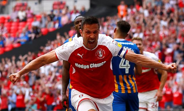 "Soccer Football - League One Play-Off Final - Rotherham United v Shrewsbury Town - Wembley Stadium, London, Britain - May 27, 2018 Rotherham's Richard Wood celebrates scoring their first goal Action Images/Jason Cairnduff EDITORIAL USE ONLY. No use with unauthorized audio, video, data, fixture lists, club/league logos or ""live"" services. Online in-match use limited to 75 images, no video emulation. No use in betting, games or single club/league/player publications. Please contact your account representative for further details."