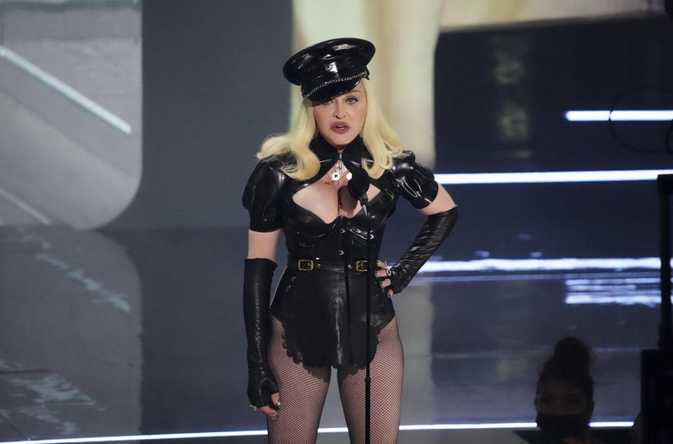 Madonna speaks at the MTV Video Music Awards at Barclays Center on Sunday, Sept. 12, 2021, in New York. (Photo by Charles Sykes/Invision/AP)