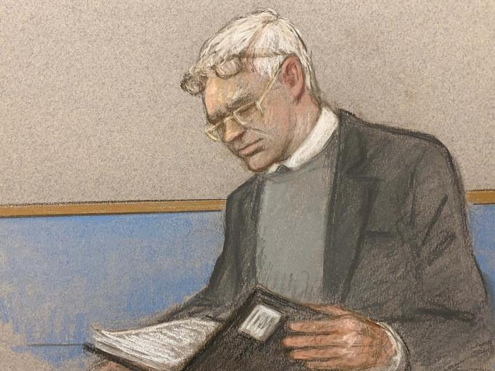 Julian Assange wearing two pair of glasses in seen at court during an extradition hearing: REUTERS