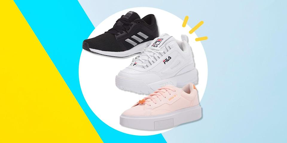 <p>After a cold winter spent indoors, the weather is warming up and you might be starting to make plans for rooftop cocktails, sunset picnics, or even just some long walks to wind down after work. </p><p>As such, there's no better time to make sure your sneaker game is strong, whether you plan on wearing them to bootcamp in the park or just to brunch with friends. Yep, it's the perfect time to grab those white sneakers you've been eyeing and dying to get for months.</p><p>But, sneakers can be expensive—especially if you want a pair just as cute as they are comfortable. Fortunately, Amazon is currently having a low-key amazing sale on popular sneakers, from bestselling designer shoes to budget-friendly picks that are now practically a steal.</p><p>The sneakers below are cute, comfortable, and bound to fly off of the (virtual) shelves quickly. From the park to your Peloton strength class, these 14 pairs of sneakers below will have you feeling your refreshed and ready for a new season.</p><p>Go ahead, have a look and add your favorite pair (or two, or five) to your cart. With deals this good, you'll want a new pair for every day of the week.</p>