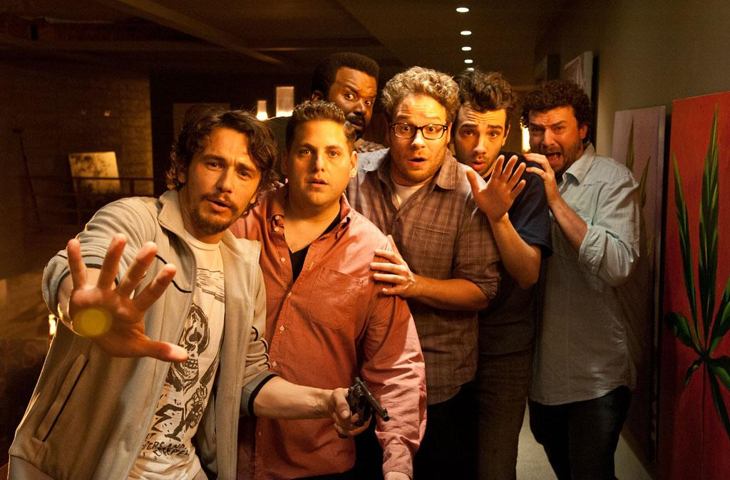 "James Franco, Jonah Hill, Craig Robinson, Seth Rogen, Jay Baruchel and Danny McBride in Sony Pictures' ""This is the End"" - 2013"