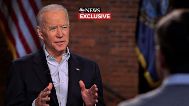 PHOTO: Former Vice President Joe Biden speaks with ABC News Chief Anchor George Stephanopoulos in an exclusive interview on Feb. 8, 2020, in New Hampshire. (ABC News )