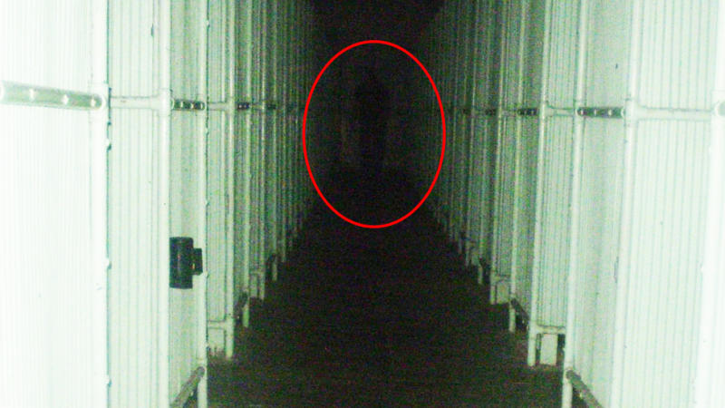A photo snapped by a visitor seems to show a shadowy figure lurking in the background of the empty shower block. Photo: Facebook