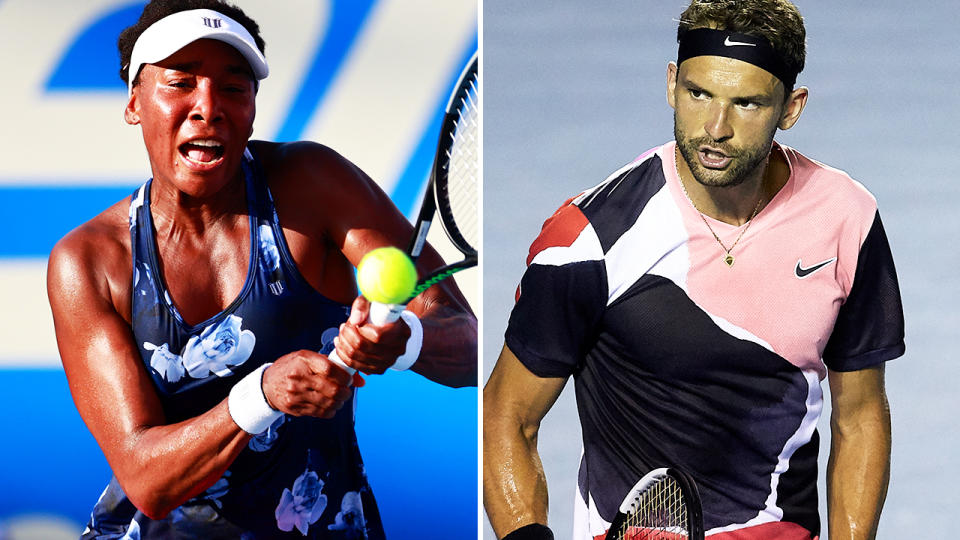 Venus Williams and Grigor Dimitrov, pictured here in action early in 2020.