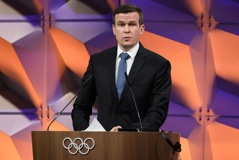 World Anti-Doping Agency president Witold Bańka delivers a speech during an Olympics session in Lausanne, Switzerland, in January 2020
