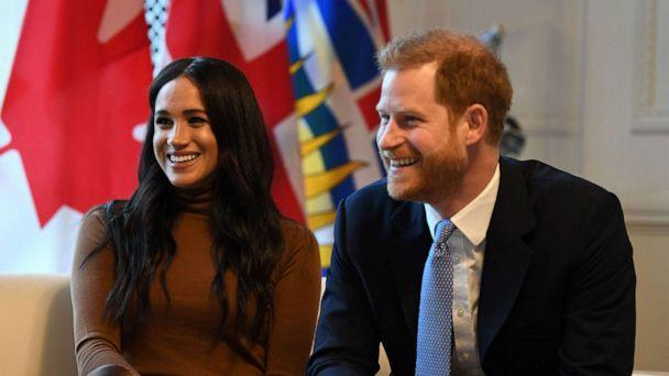 PHOTO: Britain's Prince Harry, Duke of Sussex and Meghan, Duchess of Sussex react during their visit to Canada House in thanks for the warm Canadian hospitality and support they received during their recent stay in Canada, in London on Jan. 7, 2020. (Daniel Leal-Olivas/POOL/AFP via Getty Images)