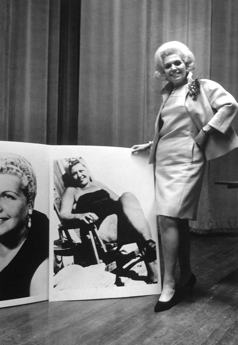 Jean Nidetch alongside a photo of herself weighing over 100 pounds more - Getty