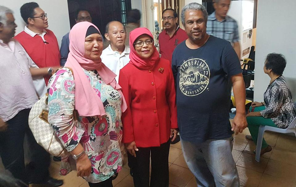 Halimah Yacob, former Marsiling-Yew Tee GRC MP (middle), meets residents of Marsiling at a Meet-The-People session on 8 August 2017, a day after she resigned from her post. (Photo:Safhras Khan/Yahoo News Singapore)