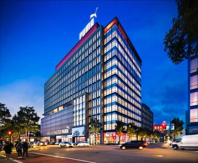 Rendering: A proposed rendering of 455 Grand Union Boulevard, which will serve as PUMA's new North American headquarters at Assembly Row in Somerville, Mass. The company will relocate there in 2021. Rendering credit: Federal Realty Investment Trust