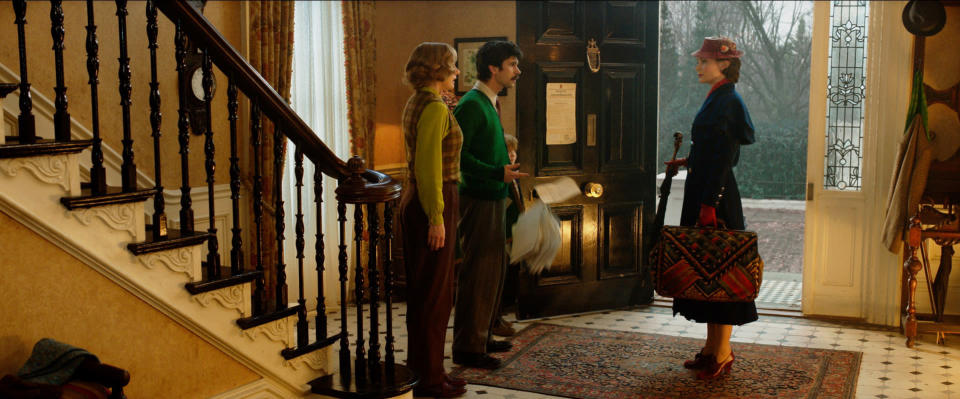 Emily Blunt is Mary Poppins, Emily Mortimer is Jane Banks, Ben Whishaw is Michael Banks and Joel Dawson is Georgie Banks in Disney'™s Mary Poppins Returns (Disney)