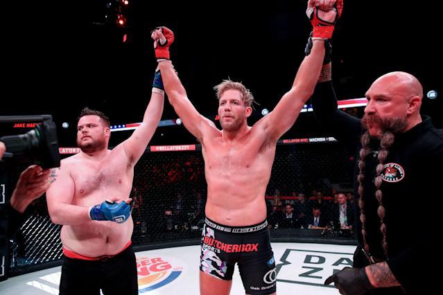 Jake Hager was feeling it after his Bellator 221 win. (Photo courtesy of Bellator)