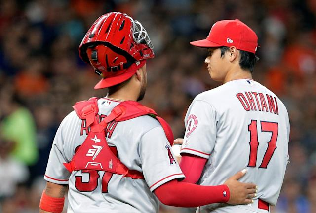 Shohei Ohtani was all over the radar gun in his return to the mound. (AP Photo)