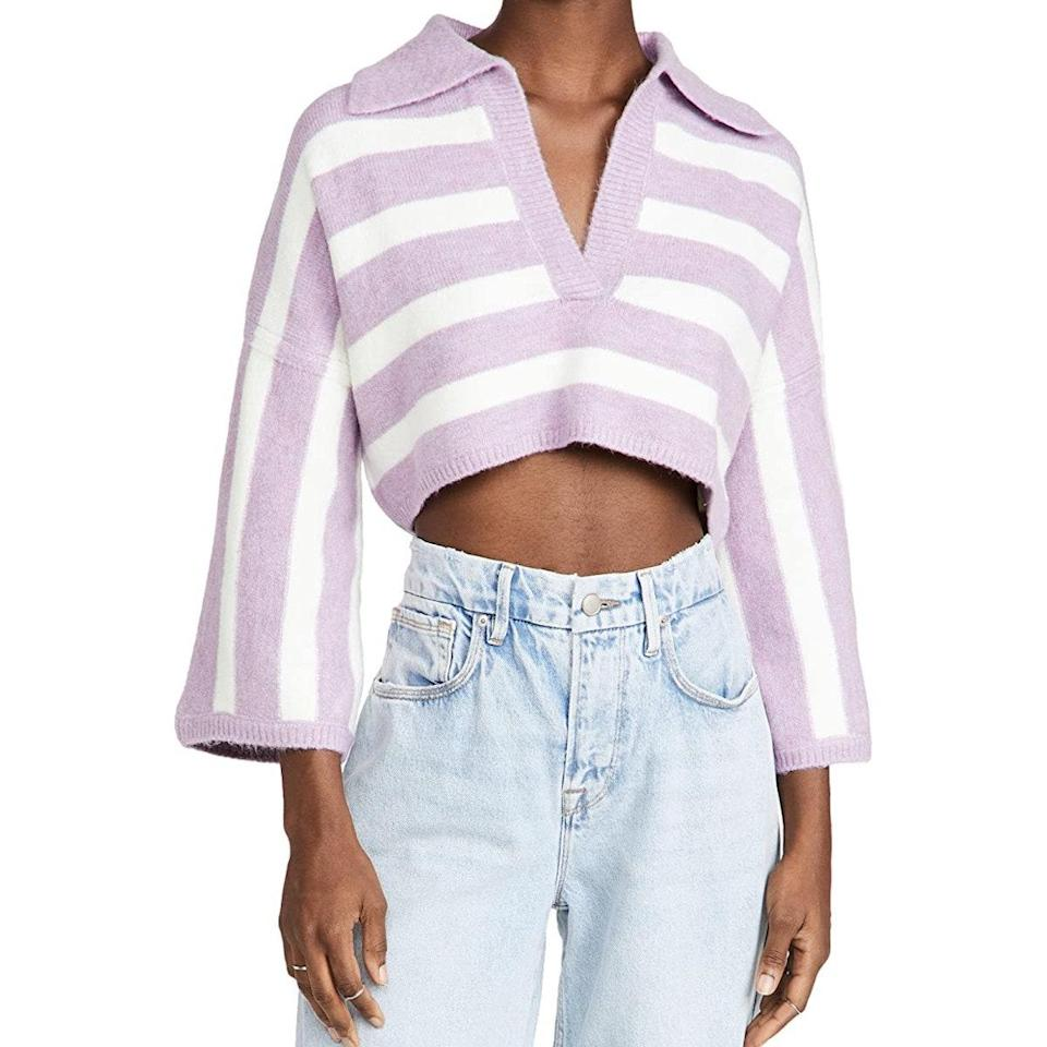 """Bell sleeves and a boxy cut instantly offset the preppy vibes of this polo—and we love it paired with a tennis skirt or <a href=""""https://www.glamour.com/gallery/where-to-buy-your-next-pair-of-jeans?mbid=synd_yahoo_rss"""" rel=""""nofollow noopener"""" target=""""_blank"""" data-ylk=""""slk:baggy denim"""" class=""""link rapid-noclick-resp"""">baggy denim</a>, depending on what the temps allow. $139, Amazon. <a href=""""https://www.amazon.com/Love-Lemons-Womens-Sweater-Purple/dp/B094PP7CJ3/"""" rel=""""nofollow noopener"""" target=""""_blank"""" data-ylk=""""slk:Get it now!"""" class=""""link rapid-noclick-resp"""">Get it now!</a>"""