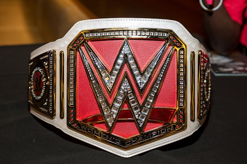 NEW YORK, NY - AUGUST 09: WWE Championship Belt presented during the Beyond Sport United 2016 at Barclays Center on August 9, 2016 in Brooklyn, New York. (Photo by Roy Rochlin/Getty Images)