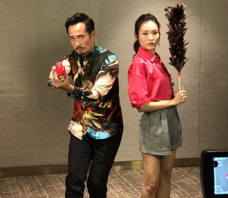 Moses Chan and Ali Lee share funny antics for the camera. (PHOTO: Sheila Chiang/Yahoo Lifestyle Singapore)