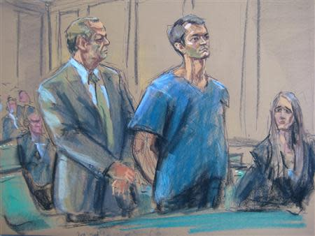 Ross Ulbricht , who prosecutors say created the underground online drugs marketplace Silk Road, makes an initial court appearance with his attorneys Joshua Dratel (L) and Lindsay Lewis (R) in New York, February 7, 2014. REUTERS/Jane Rosenberg