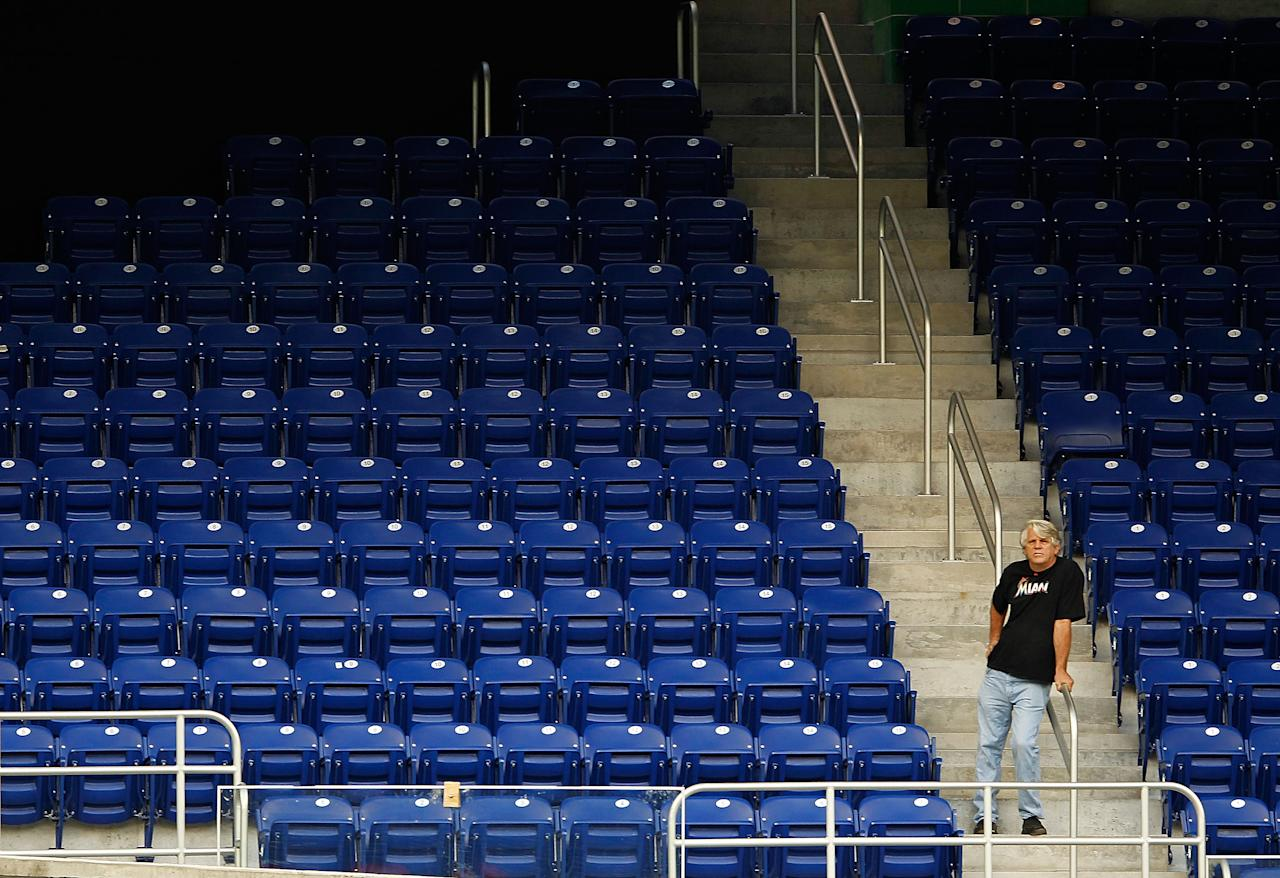 MIAMI, FL - MARCH 06:  Miami Marlins fans watch batting practice during a game against the University of Miami Hurricanes at Marlins Park on March 6, 2012 in Miami, Florida.  (Photo by Mike Ehrmann/Getty Images)