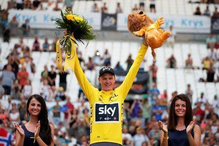 Cycling - The 104th Tour de France cycling race - The 22.5-km individual time trial Stage 20 from Marseille to Marseille, France - July 22, 2017 - Team Sky rider Chris Froome of Britain celebrates on the podium. REUTERS/Benoit Tessier