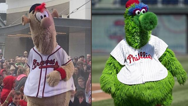 New Braves mascot 'Blooper' looks an awful lot like the famous Phillie Phanatic. (Braves/AP)