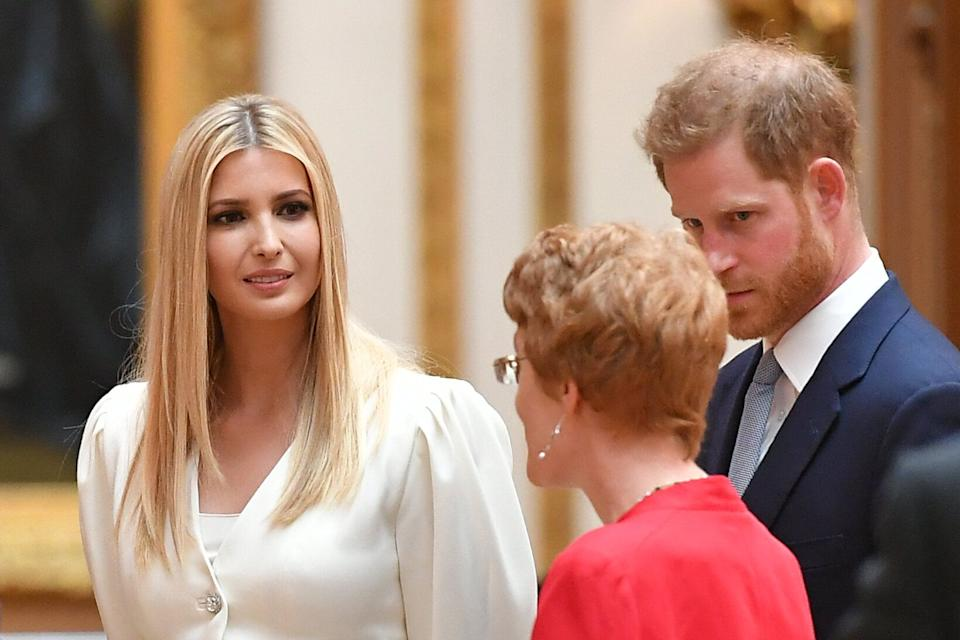 Ivanka Trump (L) and Britain's Prince Harry, Duke of Sussex view displays of US items of the Royal Collection at Buckingham palace at Buckingham Palace in central London on June 3, 2019, on the first day of their three-day State Visit to the UK. - Britain rolled out the red carpet for US President Donald Trump on June 3 as he arrived in Britain for a state visit already overshadowed by his outspoken remarks on Brexit. (Photo by MANDEL NGAN / AFP)        (Photo credit should read MANDEL NGAN/AFP/Getty Images)