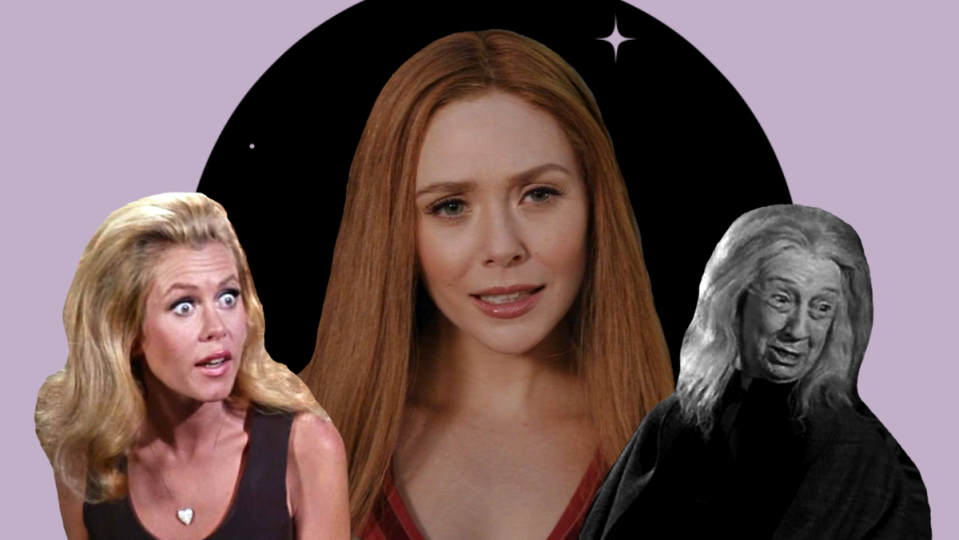 Artistic rendering of Samantha Stevens from Bewitched, Wanda Maximoff from WandaVision, and Grandmama from The Addams Family, a trio of sitcom witches.