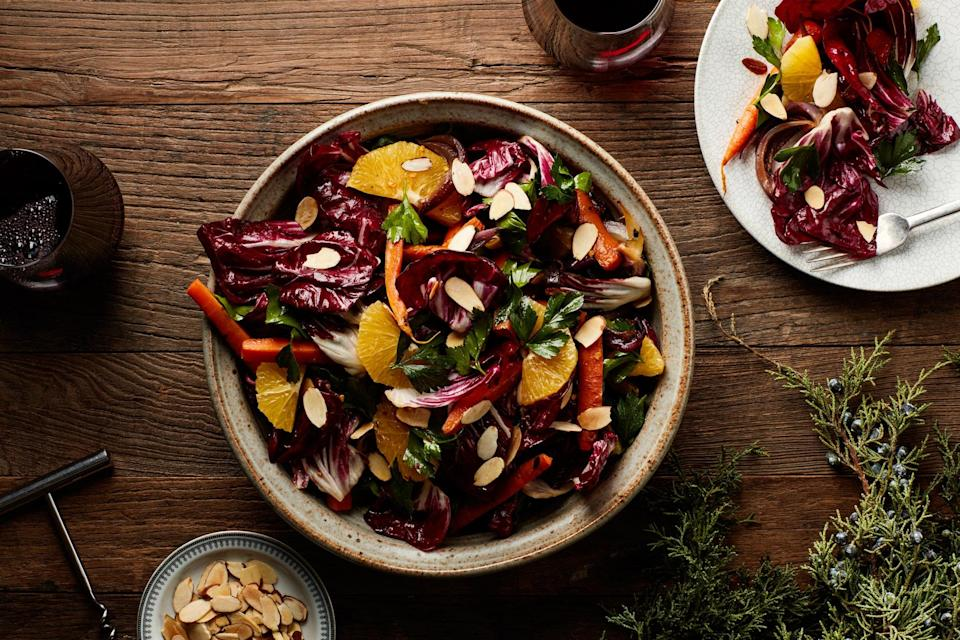 """It's all about the contrast in flavors, textures, and colors in this hearty holiday side. <a href=""""https://www.epicurious.com/recipes/food/views/radicchio-salad-with-caramelized-carrots-and-onions?mbid=synd_yahoo_rss"""" rel=""""nofollow noopener"""" target=""""_blank"""" data-ylk=""""slk:See recipe."""" class=""""link rapid-noclick-resp"""">See recipe.</a>"""