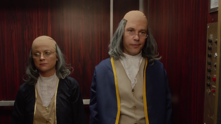 Amy Poehler and Paul Rudd as Benjamin Franklin.