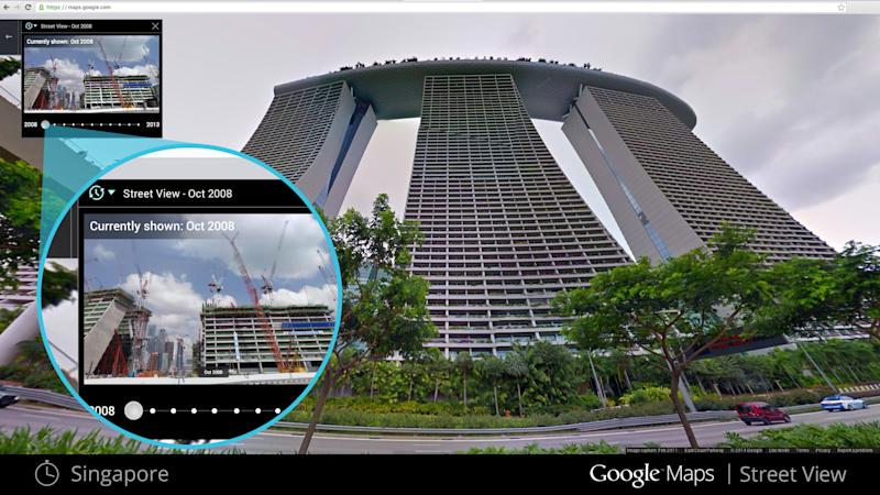 This illustration provided by Google highlights a new Google Maps Street View snapshots feature, which allow users to see what specific neighborhoods and landmarks looked like at different periods during the past seven years that Google Inc. has been dispatching camera-toting cars to take pictures for its maps. This image shows what a building in Singapore looked like in Oct. 2008, upper left, against a more recent photo. (AP Photo/Google)
