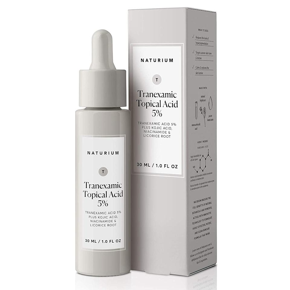 <p>The <span>Naturium Tranexamic Topical Acid 5% </span> ($20) was one of my favorite products to use to target my stubborn hyperpigmentation. It contains a powerful blend of tranexamic acid, kojic acid, niacinamide and licorice that all help to brighten the skin and target dark spots. I applied a few drops of this serum all over my face nightly and it did not cause any excessive dryness or skin flaking. My dark spots and hyperpigmentation got significantly lighter with consistent use. Although it's the most potent product I have tried from the line, overall it's still pretty gentle.</p>