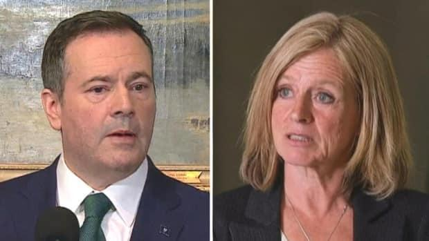 A new poll commissioned by CBC News shows the NDP under Rachel Notley would sweep Jason Kenney's UCP from power if an election were held today.  (Mike Symington/CBC - image credit)