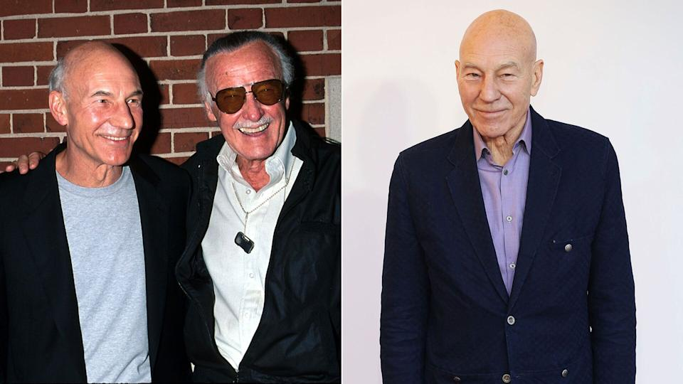 Patrick Stewart (Charles Xavier) & Stan Lee at the<i>X-Men</i> premiere at Ellis Island (L), and (R) Sir Patrick Stewart at the gala screening of <i>The Kid Who Would Be King</i>.