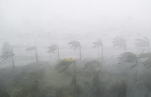 <p><strong>Miami</strong><br>Heavy winds and rain from Hurricane Irma are seen in Miami, Florida on Sept. 10, 2017.Hurricane Irma's eyewall slammed into the lower Florida Keys, lashing the island chain with fearsome wind gusts, the US National Hurricane Center said. (Photo: Saul Loeb/AFP/Getty Images) </p>