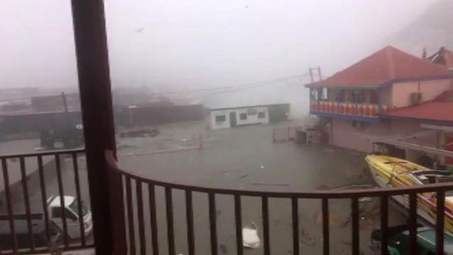 <p>Image taken from a video posted on Facebook by Stefany Santacruz showing the view from her balcony as Hurricane Irma hits the Island of St. Maarteen on Sept. 6, 2017 in Filipsburg. (Photo: Stefany Santacruz/AFP/Getty Images) </p>