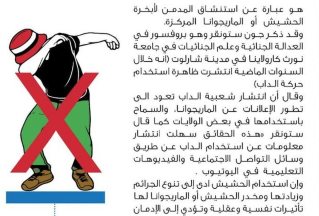 The Saudi Interior Ministry's National Commission for Combating Drugs published a poster last year that warns against dabbing. (h/t BBC)