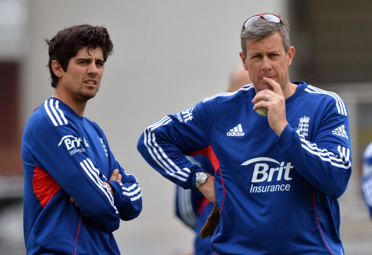 File photo dated 30/05/2013 of England's Alastair Cook (left) with coach Ashley Giles.