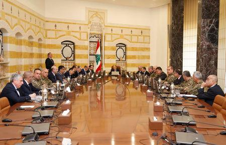 Lebanese President Michel Aoun meets with Lebanon's Higher Defence Council at the presidential palace in Baabda, Lebanon February 7, 2018. Dalati Nohra/Handout via REUTERS